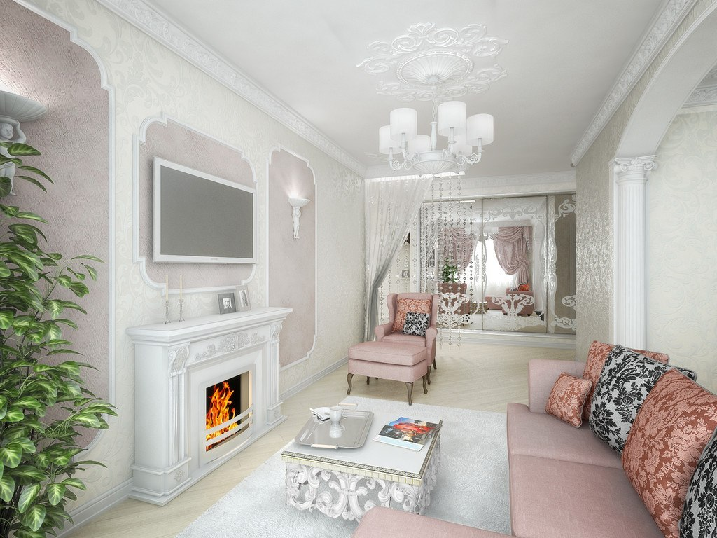 Real Art Deco Apartment Design in Europe. Classic arrangement of such style can`t do without a fireplace and the chatting zone
