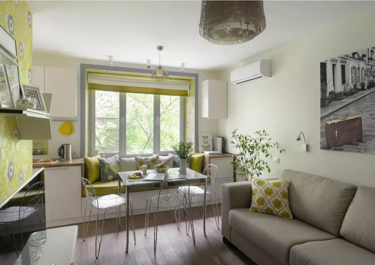 Apartments and Condos Design Projects 2016. European apartment with light yellow textile
