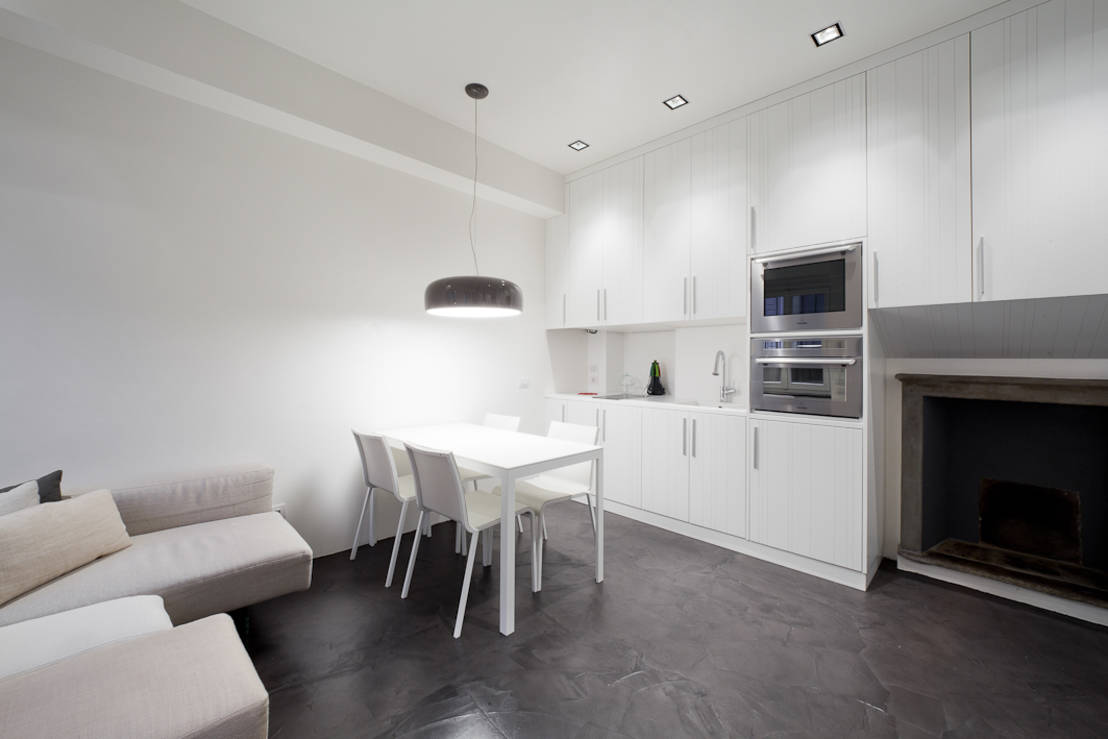 Apartments and Condos Design Projects 2016. White matted kitchen surfaces in the minimalistic style
