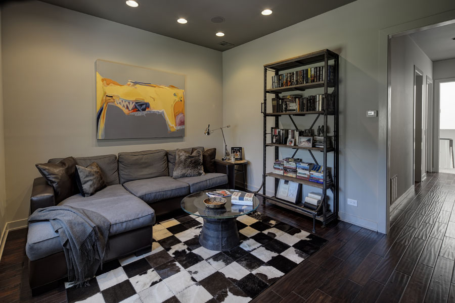 Apartments and Condos Design Projects 2016. Checkered rug and the mere design of the shelving near the corner sofa and impressionsitic painting in the living
