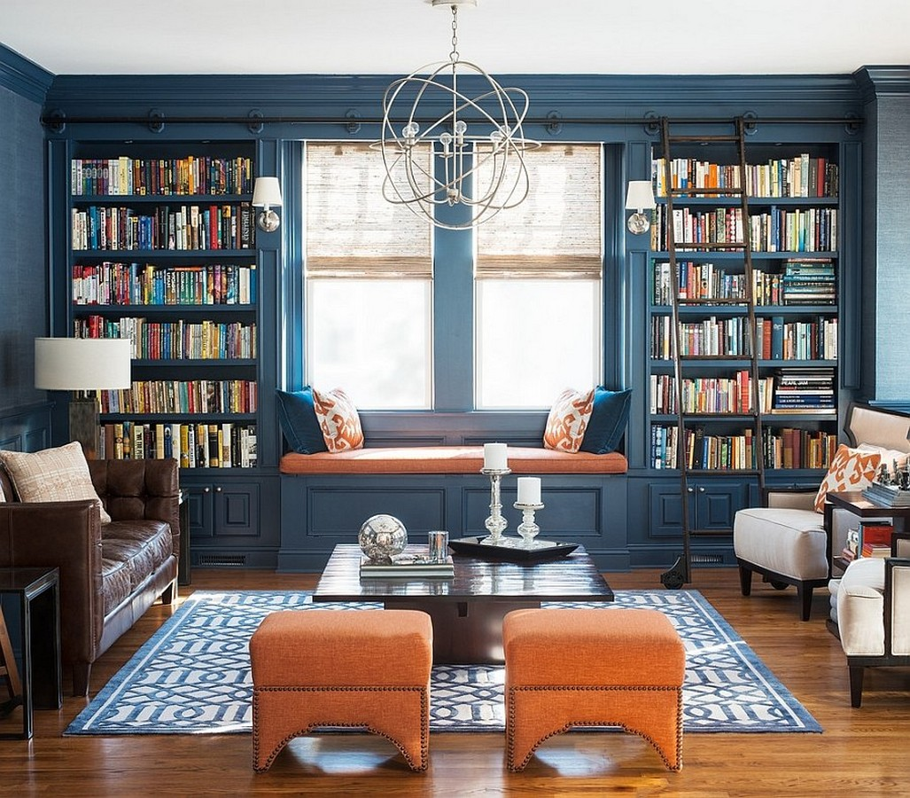 Blue Color Decoration Ideas for Living Room. Library shelving on both sides from the window