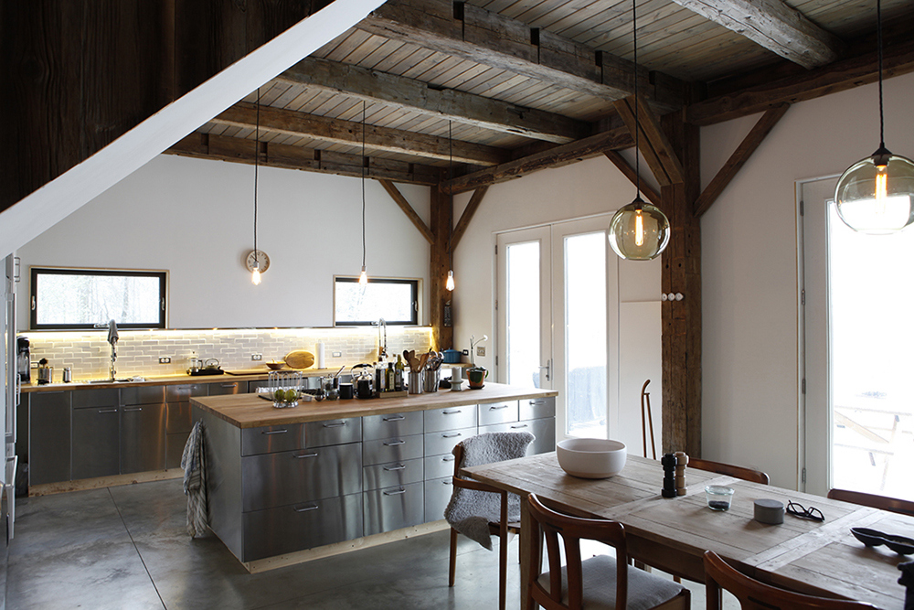 False beams for the Provence styled kitchen in the village house
