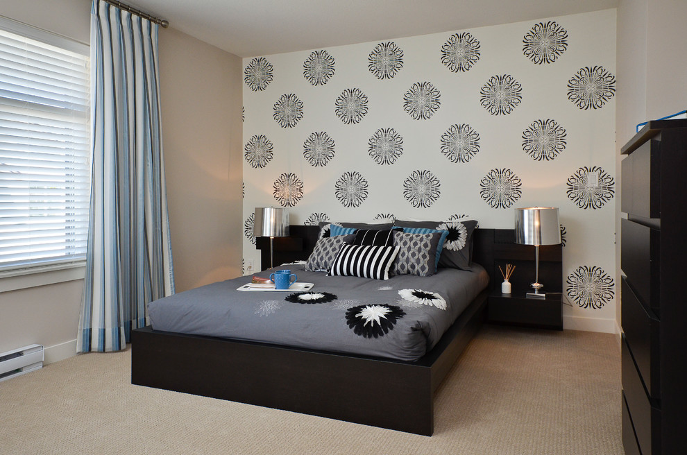 Black Furniture: Interior Design Photo Ideas. Black spots of the bed stand and the wallpaper pattern in the light room