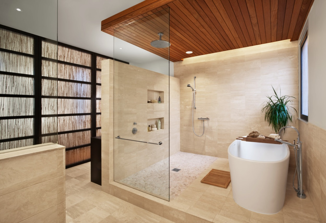 Shower design with the glass partition, zoning with the tile pedestal and wooden trimming of the upper tier
