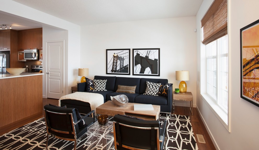 Black Furniture: Interior Design Photo Ideas. Black and white interior with the accent on the black upholstery