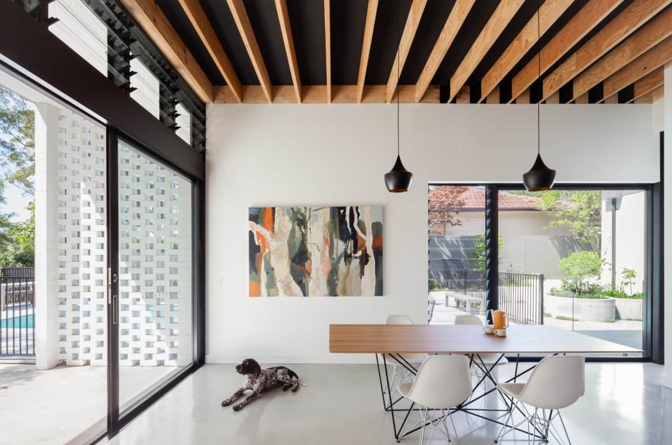 Great Scandinavian minimalism for modern styled house with black slat wooden ceiling
