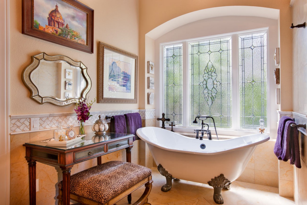Classic Style Furniture fro Practical Chic Interiors. Adorable white bathtub in the room with large windows
