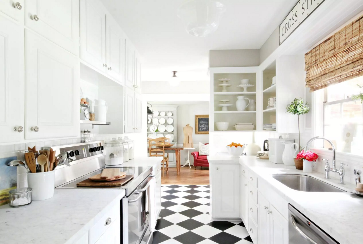 Top Modern Kitchen Flooring Materials. Checkered rhombus covering