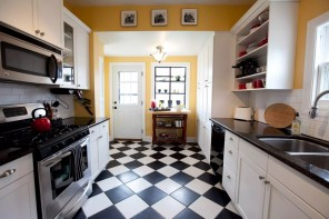 Top Modern Kitchen Flooring Materials. Rhombic Ceramic tile in black and white theme