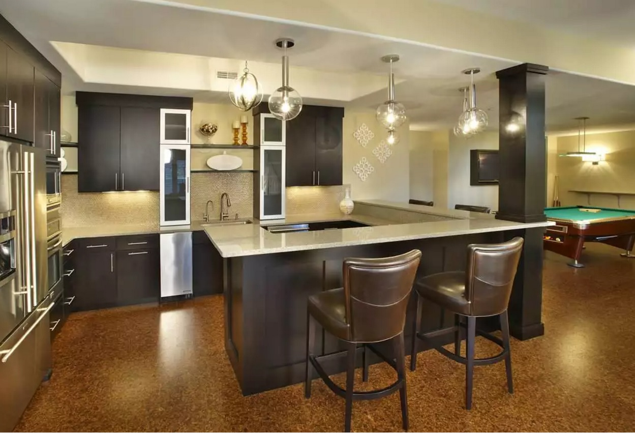 Kitchen Cork Floor Types Overview. Contemporary styled large area in the dark noble colors
