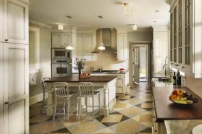 Kitchen Cork Floor Types Overview. Unusual pattern for the floor design
