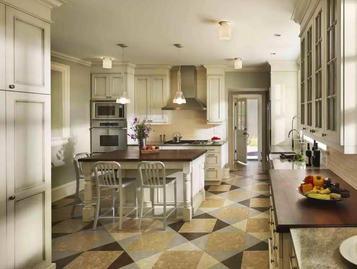 Kitchen Cork Floor Types Overview. Unusual pattern for the floor design
