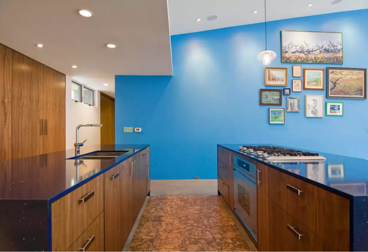 Kitchen Cork Floor Types Overview. Nice combination of the blue walls and wooden structure at the substract