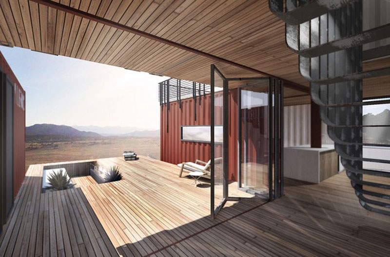 Cargo Container House Design Ideas. Nice terrace and wooden flooring and ceiling material