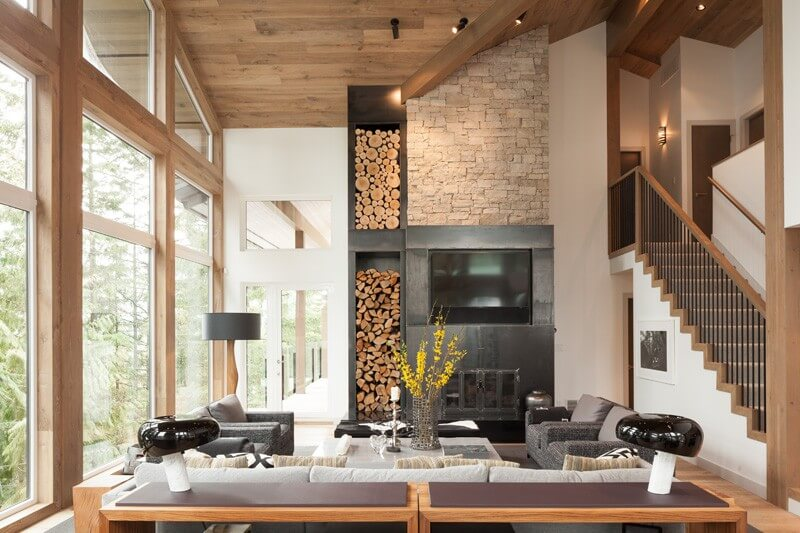 Eco Style for Country House in the Pine Forest. Original construction of the fireplace