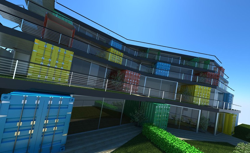 Cargo Container House Design Ideas. A whole living quarter of shipping homes
