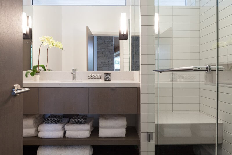 Eco Style for Country House in the Pine Forest. Metro tile in the bathroom shower cabine