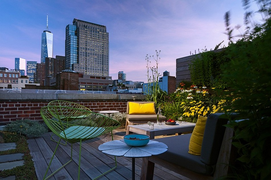 Nice prospective look from the roof terrace of the loft styled apartment