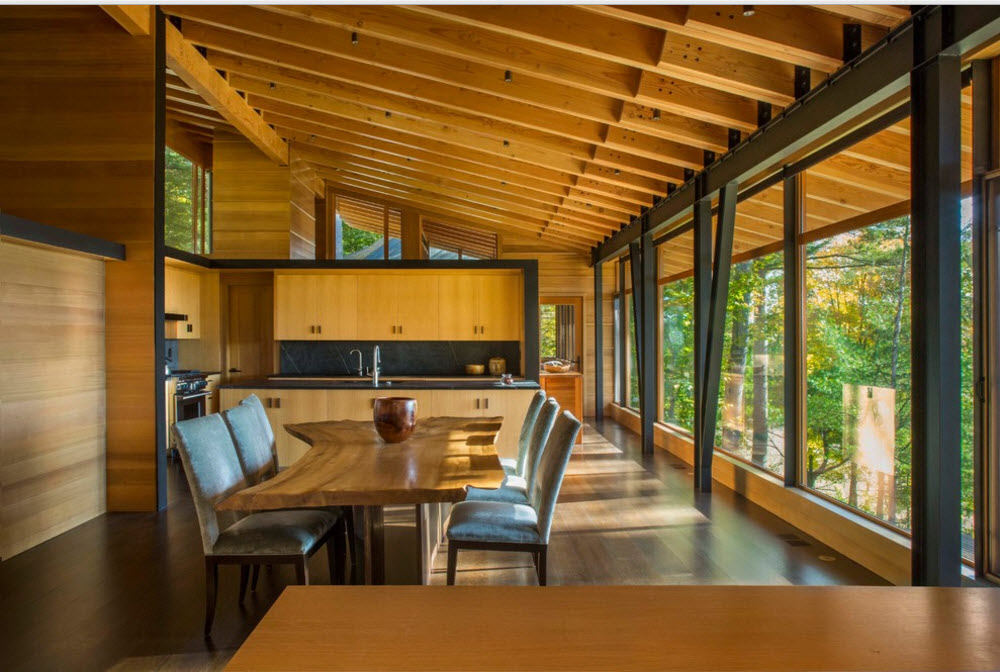 Modern Country Style Rural House. Studio living room with dining zone