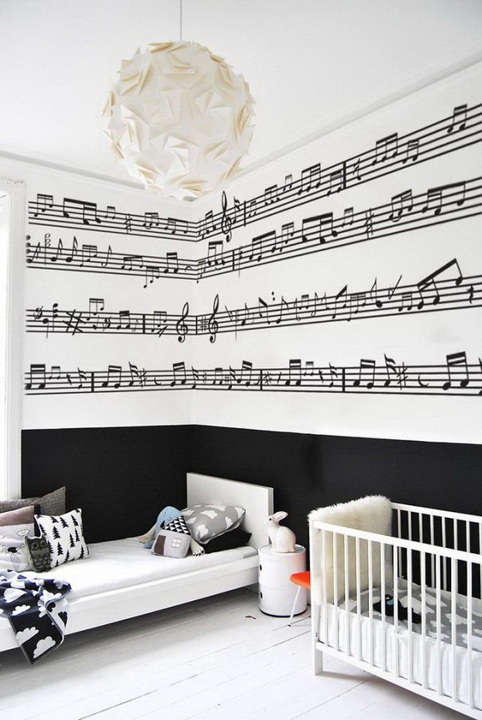 Original Interior Musical Design Ideas. Notes in the kids' room