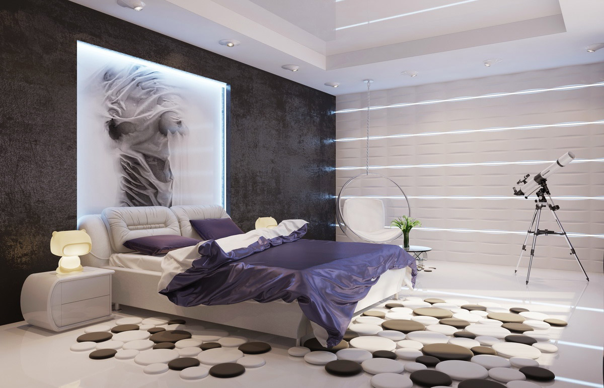 Contemporary Interior Design Style. Unusually Decorated Bedroom With Dark  Accent Wall