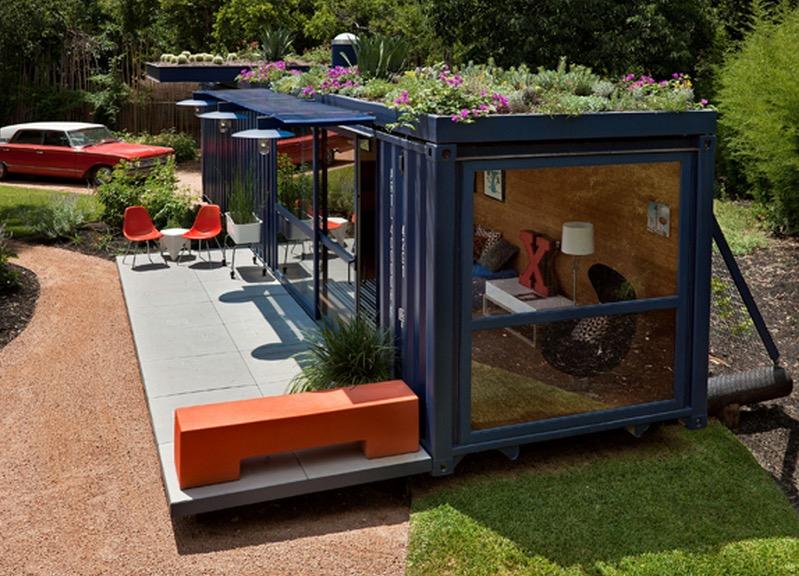 Cargo Container House Design Ideas with own garden