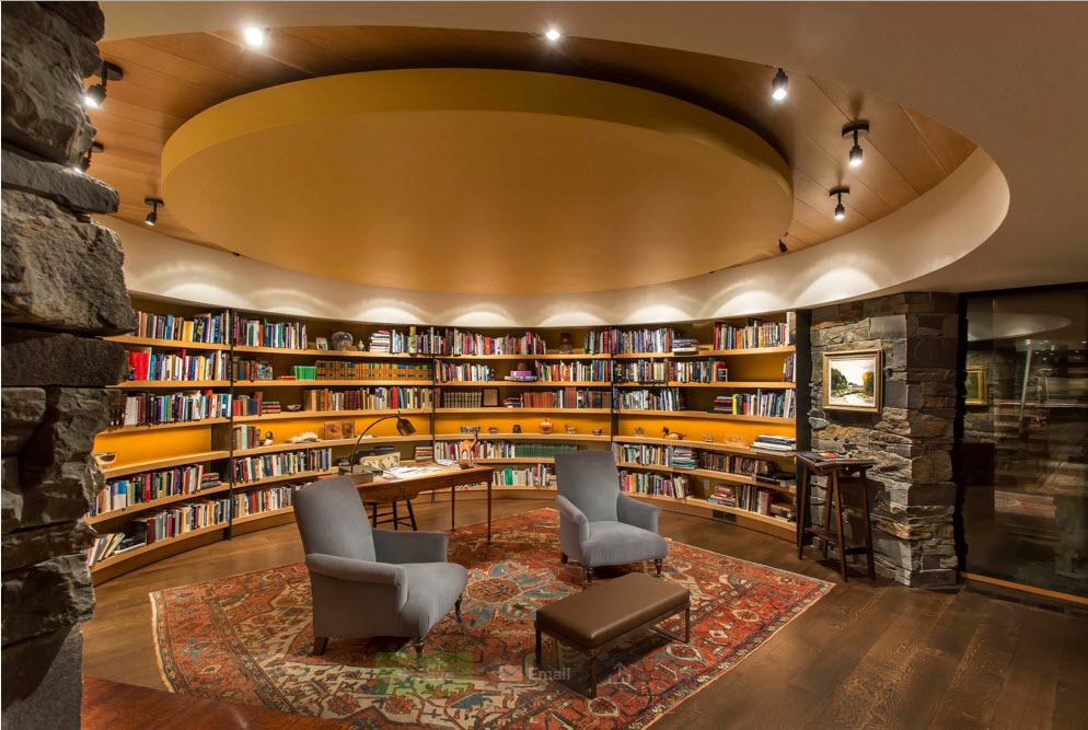 Modern Country Style Rural House. Library with the round high ceiling