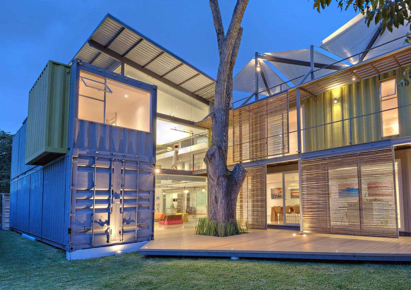 Cargo Container House Design Ideas. Eco designed roof in the modern concept