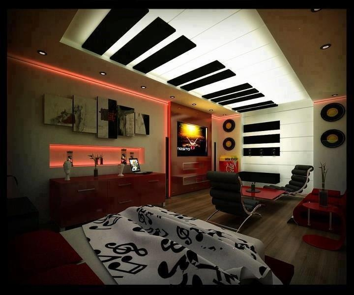 Original Interior Musical Design Ideas. Unusual floor and walls decoration in the form of piano keybaord