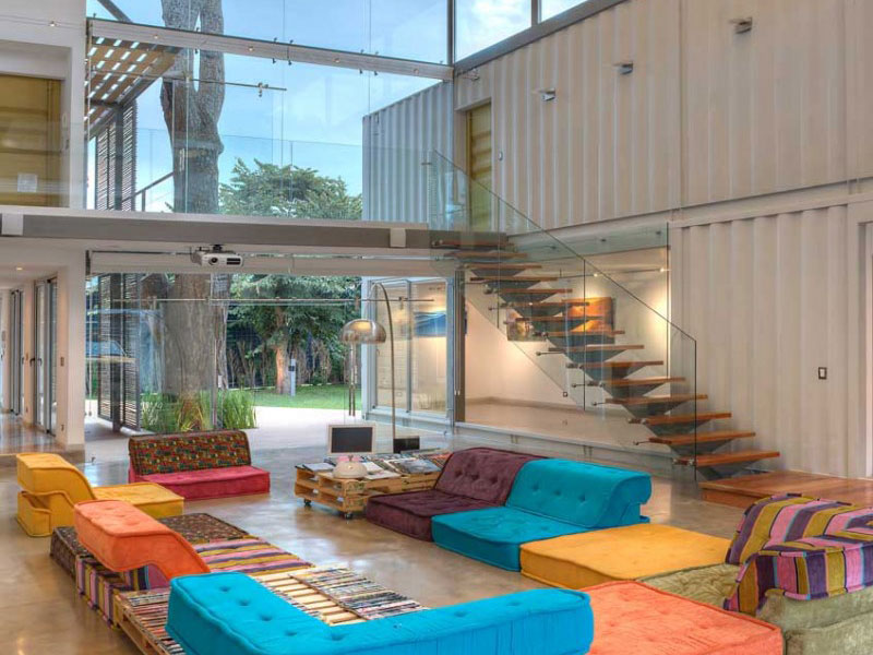 Cargo Container House Design Ideas. Couple storey building with glass roof
