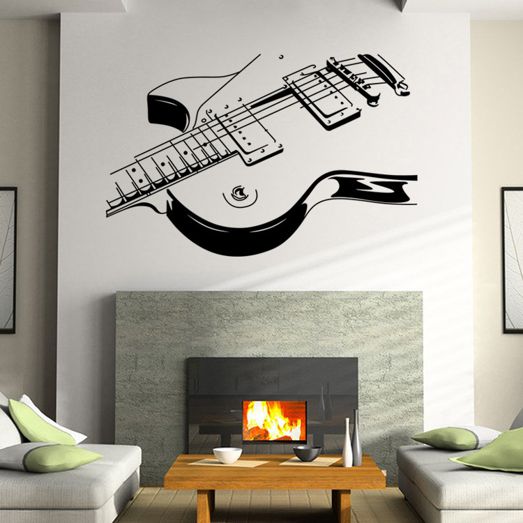 Original Interior Musical Design Ideas. Nice guitar print as the decoration of accent wall