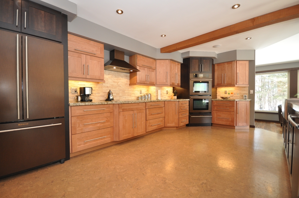 Kitchen Cork Floor Types Overview. Large space with light surfaces