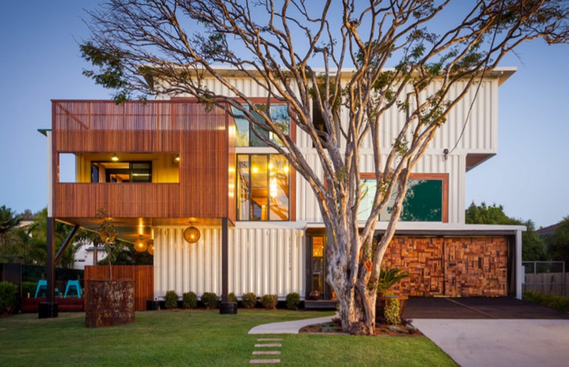 Cargo Container House Design Ideas. Nice utilitarian home from metal