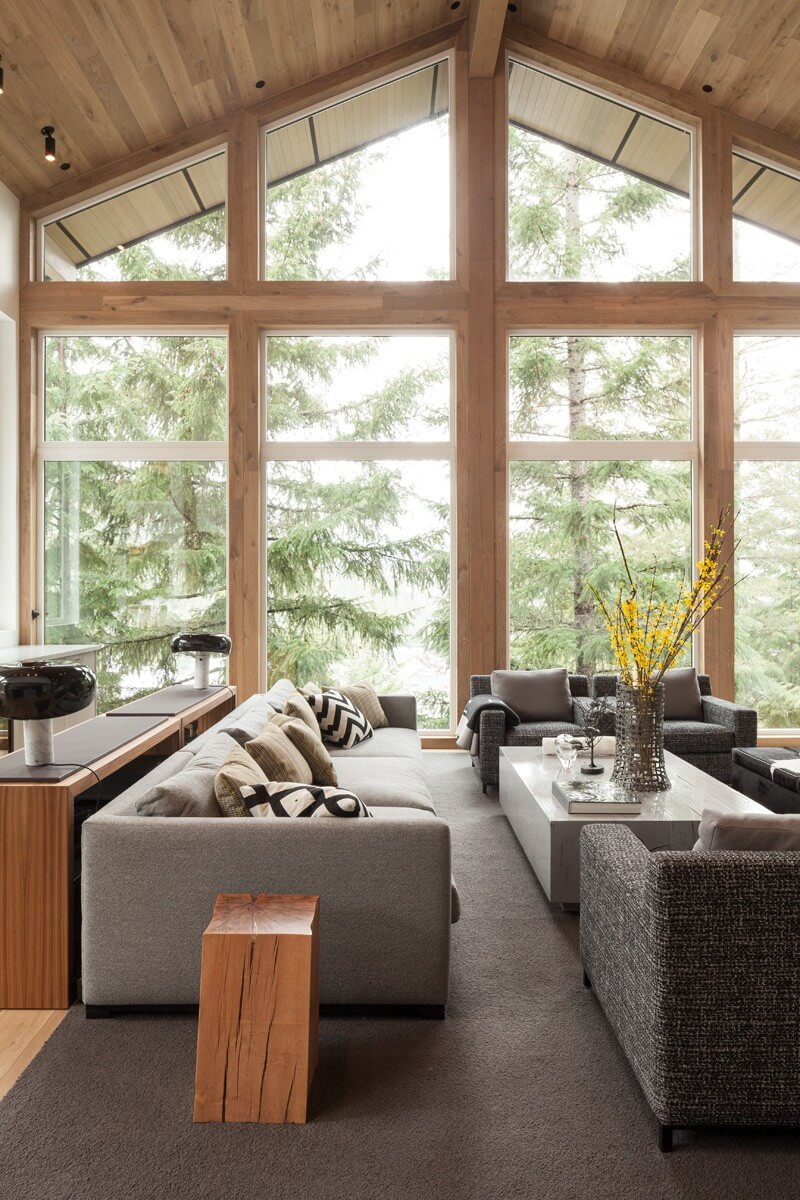 Eco Style for Country House in the Pine Forest. Nice panoramic windows provide inimitable view of the nature
