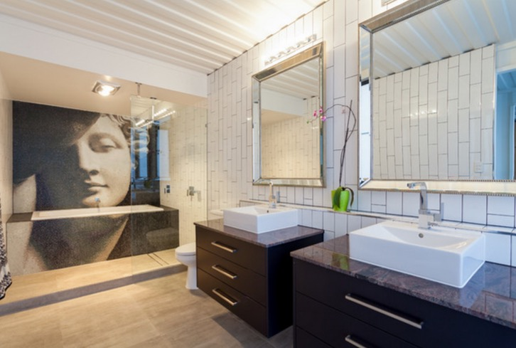 Bathroom interior of the cargo container designed house