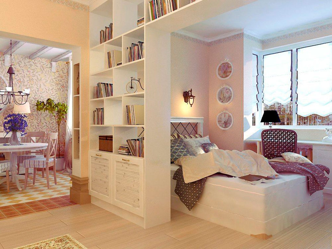 Small Condo Functional Space Ideas. Zoning the room with the book shelves