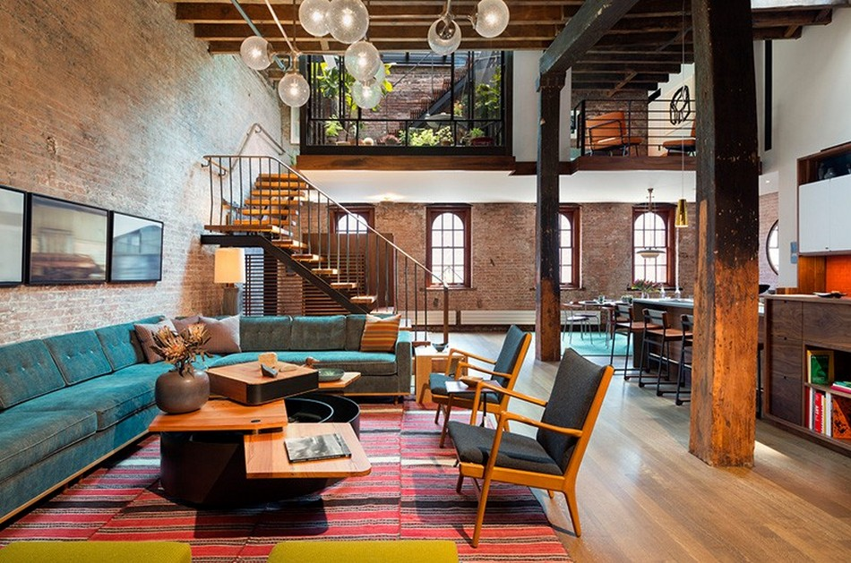 New York Loft Apartment of Former Warehouse. Studio living room with the open layout