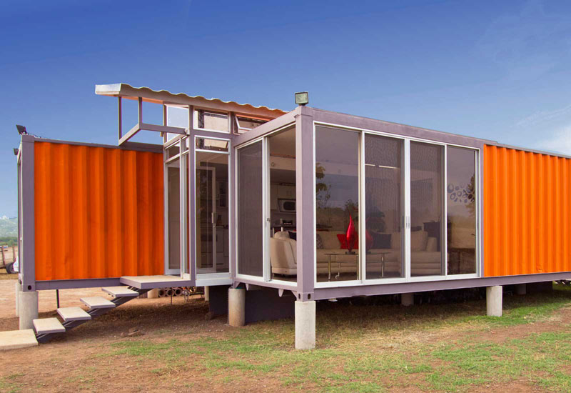 Cargo Container House Design Ideas. Adjoined glass and steel balcony