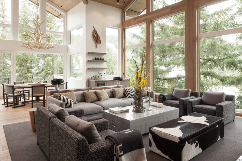 Eco Style for Country House in the Pine Forest. Living room in the open layout space of large house' first floor