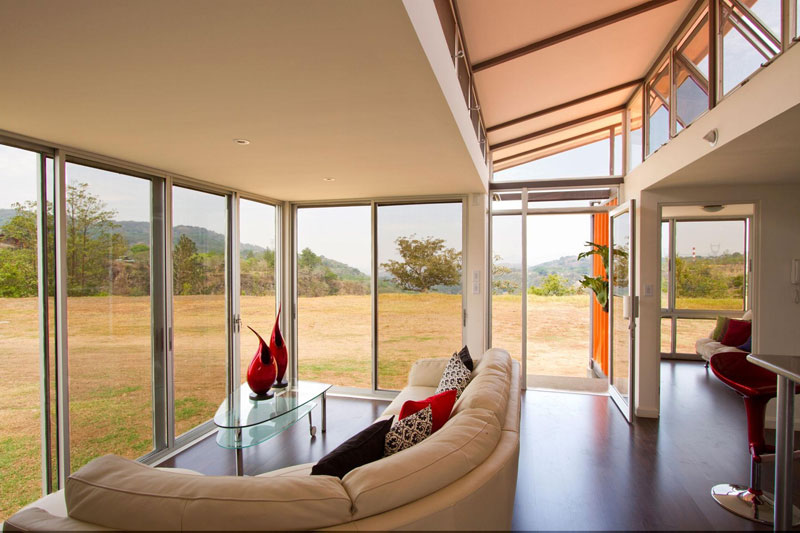 Cargo Container House Design Ideas. Glass perimeter of the glazed terrace