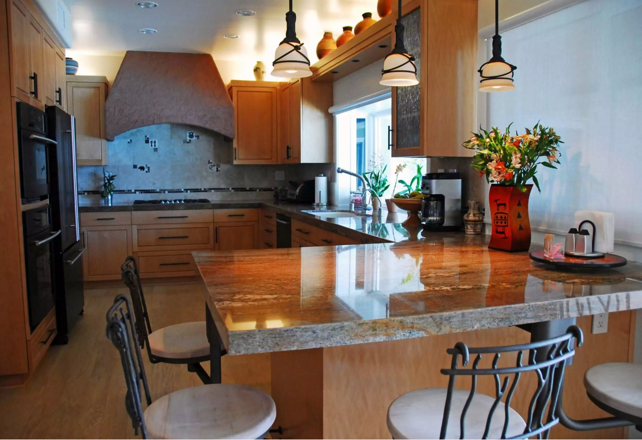 Fusion Interior Design Style. Kitchen trimmed with expensive materials