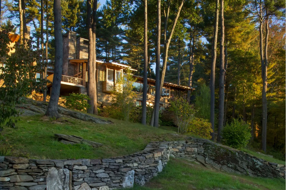 dream wooden house in the forest among the trees
