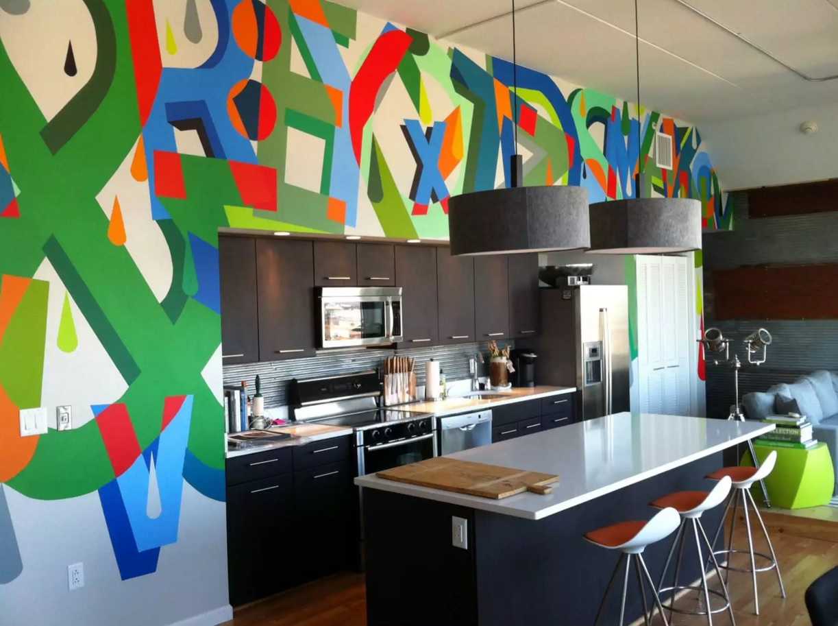 Pop Art Interior Design Style. Unusual look at the decorating of the kitchen