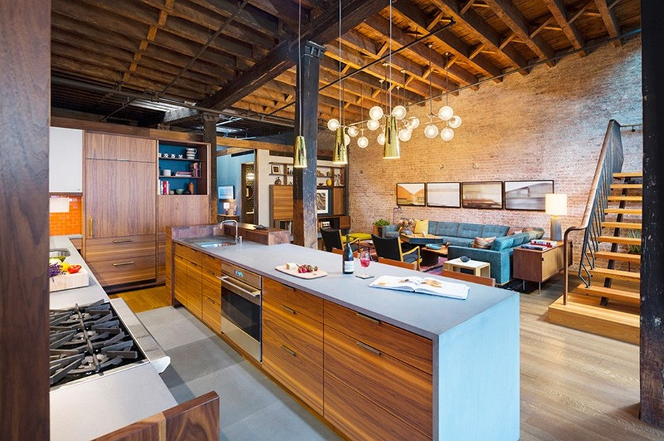 New York Loft Apartment Of Former Warehouse. Original Design For The  Kitchen With An Island