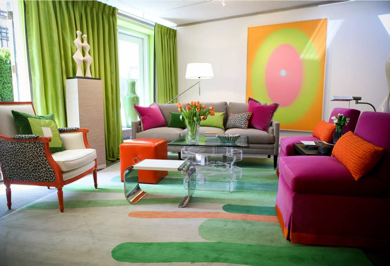 Top 20 Colorful Interior Design Ideas. Kitsch minimalism for the large studio living room