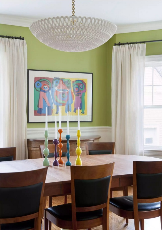 Top 20 Colorful Interior Design Ideas. Nice classic interior revived by expressive picture and olive wall finishing