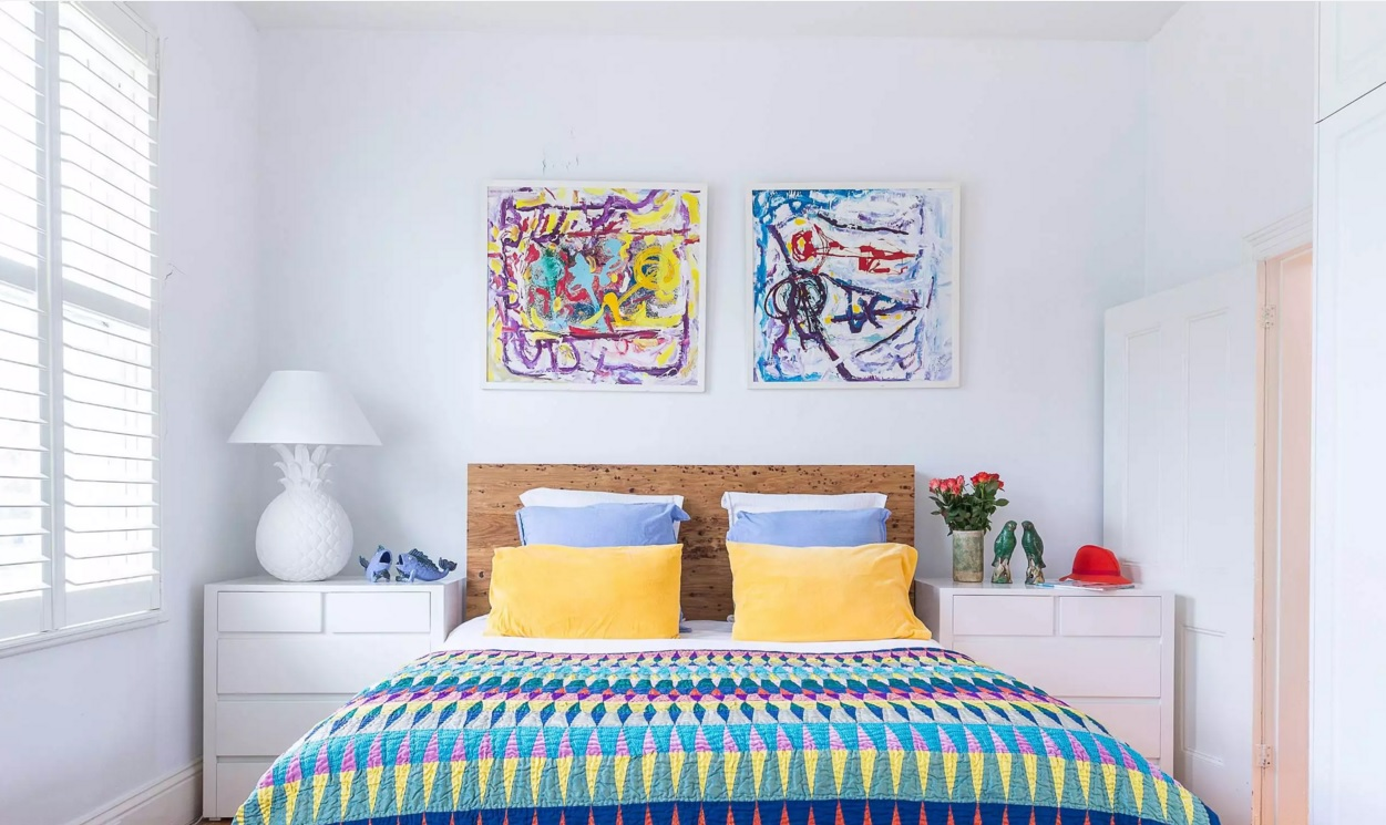 Top 20 Colorful Interior Design Ideas. Scandinavian style enliven by bright mix of colors in the bedroom