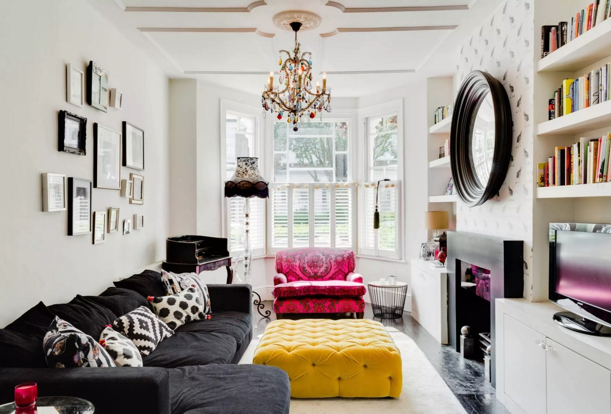 Top 20 Colorful Interior Design Ideas. Modern Eclectic interpretation with gorgeous yellow riveted pouf in the center of the living room