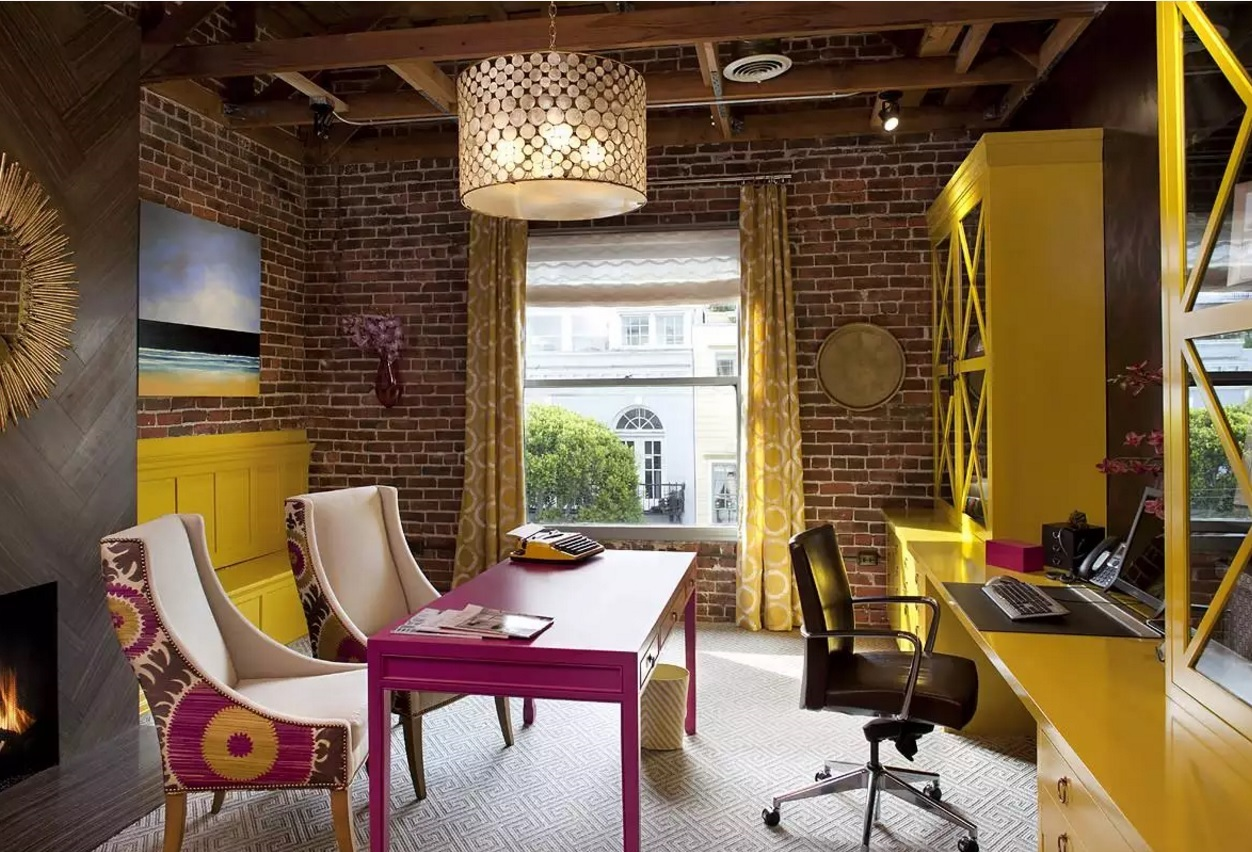 ... colorful interior design ideas. Unusual loft style realization with the  grunge and kitsch strokes for the home office