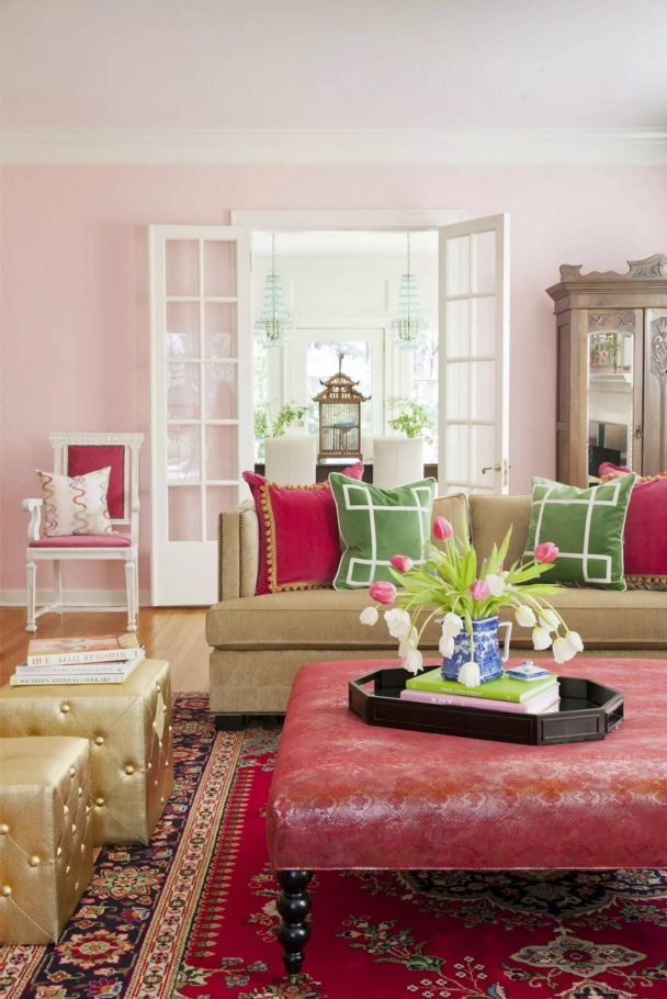 Shabby chic with eco notes design of the large living room with open layout